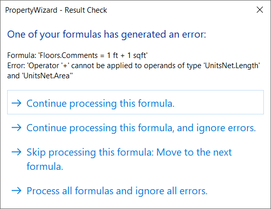 PropertyWizard Result Check dialog showing a Type Mismatch error